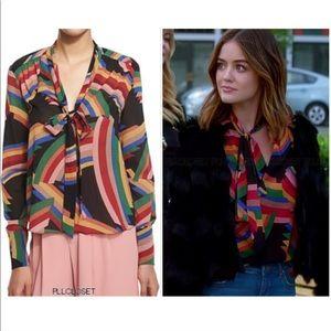 "Alice + Olivia ""Aisha"" rainbow tie neck blouse S"